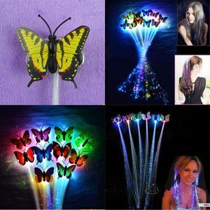 Mariposa Fibra óptica Plait LED LED LUZ UP TOYS FLASH BRAINE Siete colores Flash Pigtail Fiesta de cumpleaños Cheer Venta caliente 0 85xq J1