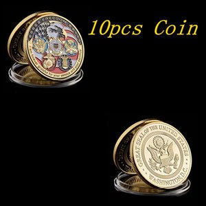 10pcs USA Navy USAF USMC Army Coast Guard Freedom Eagle Gold Plate Rare Challenge Coin Collection