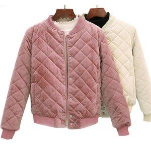 Autumn Winter Women Short Cotton Coats Velvet Argyle Harajuku Parka Warm Thick Jackets Students Baseball Outerwear Bombers 201013