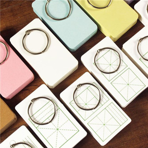 100PCS Cute Mini Color Buckle Binder Blank Memo Pad Sticky Note Paper Scrap booking Sticker Pads Word card Creative Stationery