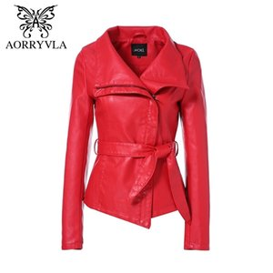 AORRYVLA Yeni Bahar Kadın Deri Ceket Kırmızı Renk Turn-down Yaka Kısa Uzunluk Ince Stil Moda Faux Deri Ceket 201026