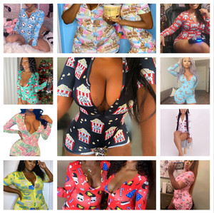 Womens summer fashionTight sexy clothes Print Playsuit V neck long sleeve shorts Skinny Jumpsuits Pajama Onesies Rompers nightclub