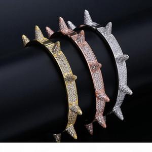 Lusso ghiacciato bling cubico zircone hip hop oro rosa oro riveglio braccialetti spike flangs regali per uomini donne