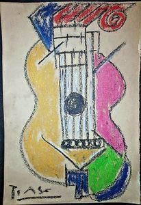 Пабло Пикассо гитара Портрет Домашнее украшение расписанную HD печати Картина маслом на холсте стены искусства Холст картинки Для декора стены 201113