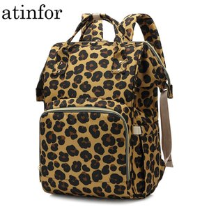 atinfor Leopard Printing Mummy Backpack Hanging Trolley Diaper Baby Care Backpacks Bag Maternity Mother Nappy Bagpack 201013