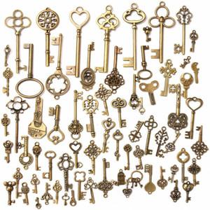 Mixta vendimia aleación de bronce antigua Claves de la llave maestra colgantes encantos 34mm-68mm claves antiguas Fahshion en venta
