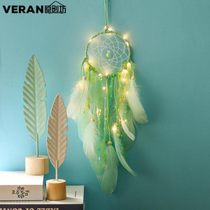 Green Dream Catcher Feather Girl Style Handmade Dreamcatcher with String Light Innovative Home Bedside Wall Hanging Decoration XR131