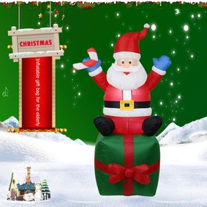 0,8 / 1,5 / 1,8m Aufblasbare Weihnachts Weihnachtsmann Modell Puppe Besen Cover Weihnachtsdekoration Anzug Dekoration Yard Prop