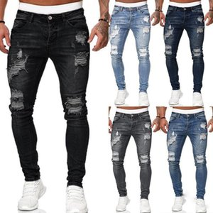 New Mens Stretch Skinny Ripped Jeans Sweatpants Destroyed Holes Slim Denim Pants Summer Autumn Casual Outwears Pants