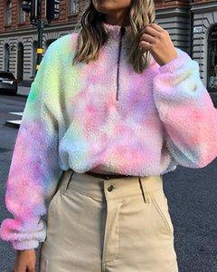 CHRONSTYLE Mujeres corto sudaderas con capucha de terciopelo suelta de cuello alto de manga larga otoño Zip Up Tie teñido Imprimir Deportes Outwear Nueva