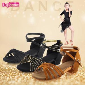 Meninas de dança sapatos de cetim Latina Sapatos salto baixo Tango Rumba Salsa Ballroom Latino Dança sapatos para as mulheres