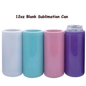 12oz Blank Sublime Can Cooler 6 Renkler Isı Transferi İnce Can Paslanmaz Çelik Çift Duvar İçecek Tumblers DENİZ NAKLİYE CCA12614