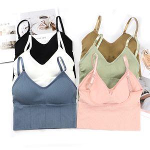 Bras Femmes Fille Sous-vêtements sans couture Type U Backless Yoga Courir Hauts Sport Push Up Coton solide Brassière