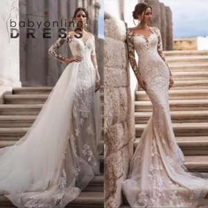 Sheer Neck Long Sleeves Lace Mermaid Wedding Dresses With Detachable Skirt Tulle Applique Sweep Train Bridal Gowns robes de mariée BC3596