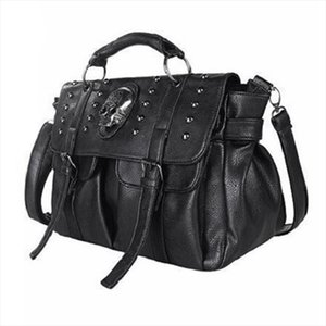 JHD Shoulder Bag Lady Fashion Bag Designer Punk Skull Rivet All Match Womens Handbag Black Big Tote