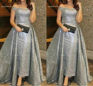 Silver Sequined Mother of The Bride Dresses Gowns sweetheart Overskirt Plus Size Off Shoulder Capped Sleeveless Prom Evening Dresses