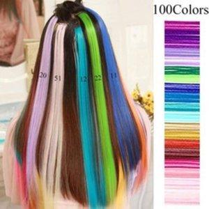 MUX Цвета Rainbow Hair Pile Clip в волосах Усиливания волос Синтетические Длинные Прямые Оммре Розовый Красный Радужный Шт для волос Мода Новый