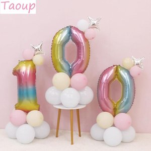 Taoup 12pcs 32inch Foil Rainbow Balloon Column Number Ballons Accessories Happy Birthday Party Decors Kids Baby Shower Decor DIY