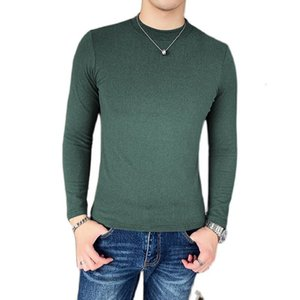 Winter Double Faced Plush Long Sleeve T-shirt With Thick Backing For Men's Slim Solid Color Warm Black Underwear Men Clothes