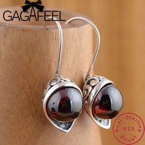 GAGAFEEL Calla Lily Synthetic Red Zircon Earrings 100% 925 Sterling Silver Earring for Women Female Vintage Jewelry