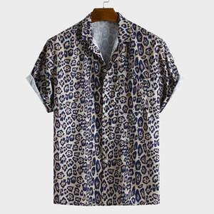 Мужские повседневные рубашки Muqgew Мужская кнопка Мужская леопард напечатанный нагрудный карман поворотный воротник с коротким рукавом свободная рубашка Camisa Masculina # Y3