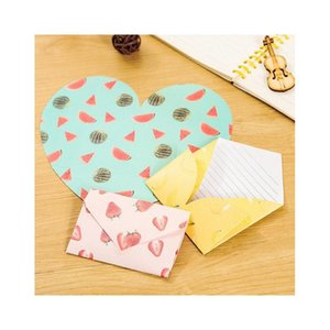 Großhandel-4 teile / paket kreative fruit muster herzen geformt geformter Briefpapier Umschlag Briefkissengeschenk Briefpapier scho jllfwm xmhyard