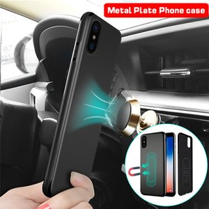 Ultra Thin Magnetic Car Phone Case for iPhone 12 mini pro max 11 7 8 Plus Invisible Built-in Magnet Plate Soft TPU Shockproof Cover for X XR