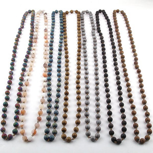 Free Shipping Fashion Bohemian Tribal Jewelry Natural Druzy Beadl Rosary Chain Stone Necklace