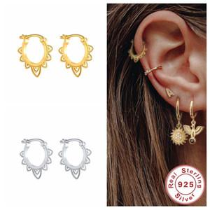 Hoop Huggie Aide Simple Pendientes pequeños para las mujeres Twist Circle Gold Color Harings S925 Sterling Silver Jewelry Brincos