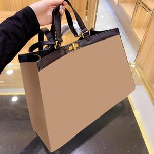 Lüks Tasarımcı Kahverengi Nakış Çizgili Tuval Tote Çanta Omuz Alışveriş Messenger Çanta Kadınlar Için Yüksek Kapasiteli Çanta