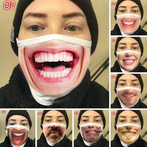 Lustige 3D Expression Gesichtsmaske Staubdicht Fashion Printing Cotton Masken Waschbar Wiederverwendbare Cycling Maske Gesicht OWD581 Maske