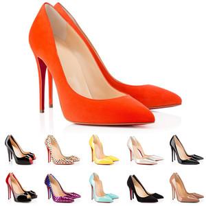 Top 1 vestido sapatos dedos apontados dedos saltos altos mulheres moda fundos vermelhos Bombas para escritório casamento escritório brilhante boca rasa banquete sapatos estilistas