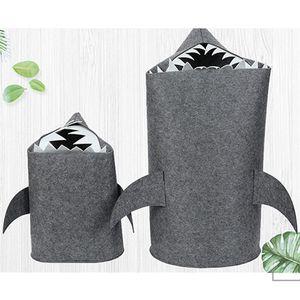 S M L Shark Felt Storage Basket Kid Toy Storage Bucket Sundries Cartoon Shark Storage Box Clothes Hamper Laundry Basket VT587