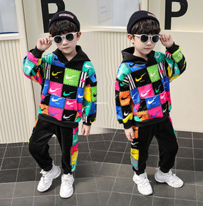 Winter New Boys Colorful Plaid letter casual outfits kids thicken long sleeve hooded jumper+sports pants 2pcs sets kids clothing A4796