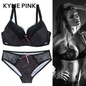Kylie Pink Plus Size Bra Panties Suits 속옷 세트 여성들이 섹시한 레이스 통기성 얇은 3/4 컵 란제리 키트 브래지어 브래지어 LJ201031