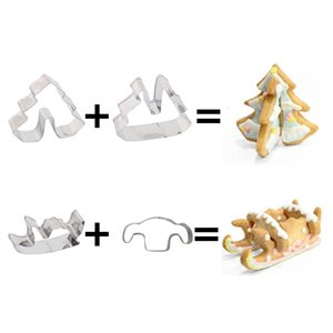 Christmas 8pcs Cookie Cutter Set 3D Christmas Tree Snowman Deer Fondant Biscuit Cutters Cake Mold Decorating Tools Xmas Party