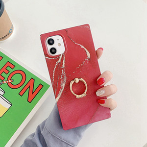 New arrival design IMD tpu beautiful square ultra-thin marble phone case with ring stand for iphone 12pro 12 12promax