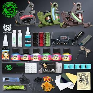 Professionellen Tattoo-Kits Top Artist Komplett-Set 3 Tattoo Maschinengewehr-Futter und Schattierung Inks Strom Needles Versorgung Canadian Tattoo Sup SvLB #