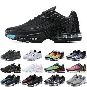 Sıcak TN Artı 3 Erkekler Kadın Spor Ayakkabı Üçlü Beyaz Siyah Yanardöner Paraşüt Paketi Örümcek Erkek Eğitmenler Spor Sneakers Koşucular