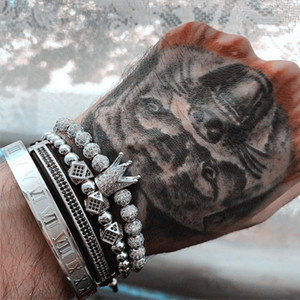4pcs Roman Numeral Bracelets Steel Couple Bangle Crown Bracelets For Women Men Love Jewelry Valentine's Day Gift