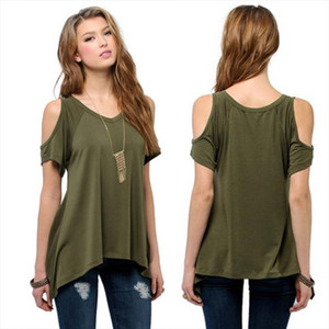 2020 Summer Fashion Womens Cotton Sexy Off Shoulder Casual Loose Short Sleeve Solid T Shirt Lady Plus Size Party Tee V Neck