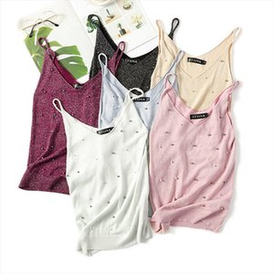 Knitted Beadings V neck Womens Tank Top Camis Sleeveless Outwear Womens Camisole 2020 Summer Spring Spaghetti Strap Tshirt Lady