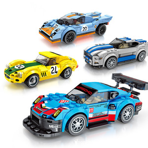 Small particle building block racing kid puzzle assembly sports car model toy both boy and girl