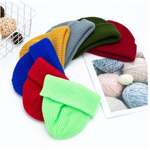 Women Knitted Hats Thermal Skullcap Autumn Winter Warm Men Beanie Hat Unisex Winter Retro Brimless Fashion Melon Cap VT1793