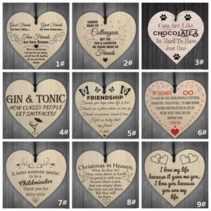 Noel Ahşap AŞK Noel Çip Asma Hediye Plak kolye Kalp Şekli Harf Dostluk Şarap Şişesi Dekor kolye Etiketler