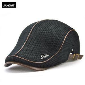 Bere Jamont Yüksek Kalite Marka Örme Bere Casquette Homme Deri Düz Kap Erkekler için Boina Hombre Visor Şapka Planas Snapback