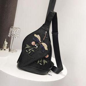 Dames Ethnique Broderie Broderie Sac à thème Nouveau Mode Nylon Tissu Coffre Sac à poitrine Etanche Carrosphone Mobile Porte-monnaie Femelle