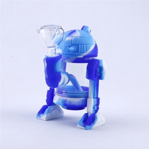 Robot Design Silicone Smoking Pipe With DHL Glass Water Pipe Bong Mini Silicone Bongs Glass Bubbler Smoking Pipes