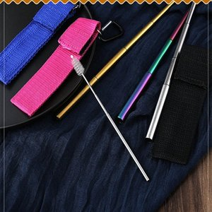 Bar Portable Pipette Reusable Travel Straw And Cleaning Brush Stainless Steel Metal Drinking Straw Folding Bag Cardboard Drinking Stra VGAs#