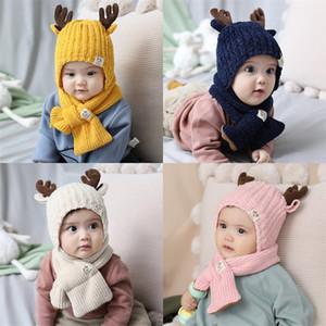 Astas de tejer Sombreros de invierno bebés Manténgase caliente de dos piezas de moda Pañuelo originalidad Animal Silenciador Nueva F2 Patrón 18jm